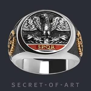 SPQR Ring Römischer Adler Rom 925 Silber mit 24K-Gold-Plattierung Imperial Roman