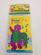 Vtg 1995 Pack of 8 Barney Party Invitations Baby Bop Tri Fold Cards Lyons Unique