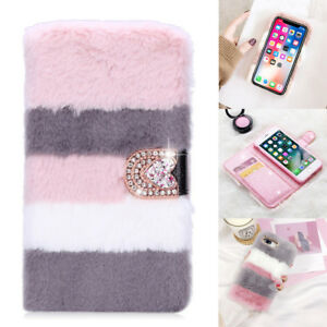For iPhone 6 7 8 X Stylish Bling Diamond Leather Faux Fur Fluffy Flip Case Cover