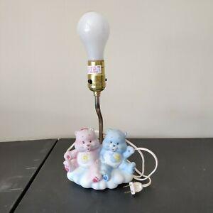 VINTAGE 1984 Pink & Blue BABY HUGS & TUGS CARE BEARS LAMP Child's Room working