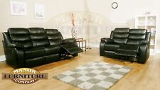RECLINING SOFA 2 AND 3 SEAT SOFA SET - TRIO DESIGN - BLACK LEATHER AIRE