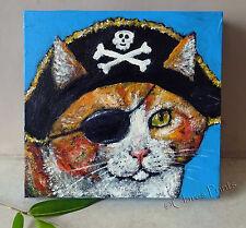 Pirate Ginger Cat Original Acrylique Peinture Toile Art Steampunk Crâne Eyepatch