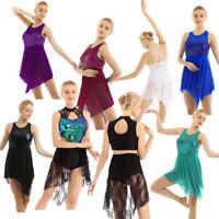 Women's Lyrical Ballet Dance Dress Sequins Asymmetric Contemporary Gym Leotard