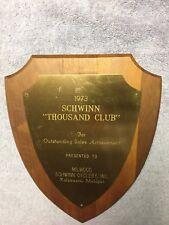 SCHWINN 1973 THOUSAND CLUB OUTSTANDING SALES ACHIECEMENT AWARD PLAQUE