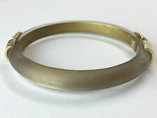 NEW Alexis Bittar Hammered Gold Capped WARM BROWN Lucite Bracelet Bangle $155