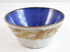 Vintage Les Argonautes French Pottery Small Bowl Circa 1950s Blue Brown Design