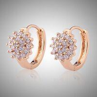 Wonderful 18k Gold Filled white sapphire LADY beauty hoop earring