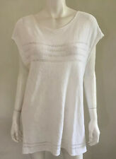 TANDEM Italy white cotton rayon knit ~ sz 40 / 16-18