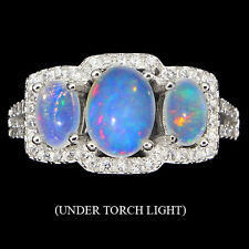 AMAZING NATURAL RAINBOW LUSTER FIRE OPAL & CZ ACCENT STERLING 925 SILVER RING7.5