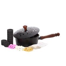 SET Schwarze Räucherpfanne Sultan aus Metall Holzgriff Räuchergefäß Handarbeit