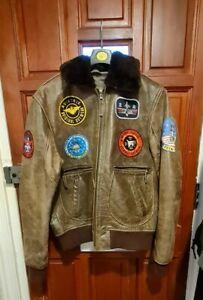 Aviatrix Men's Real Leather Vintage Pilot Flight Bomber Patch Jacket