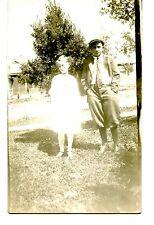 Girl & Boy in Short Pants Suit-Tie-Cap-Outdoors-RPPC-Vintage Real Photo Postcard