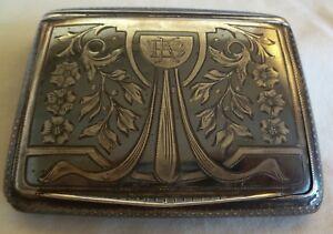 """ART NOUVEAU AUSTRIAN 900 SILVER NIELLO CIGARETTE CASE BY """"FB"""" -- INITIALS """"BK"""""""