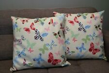 Cushions cover handmade 16''x16''  cotton set of 2 colourful butterlies pattern