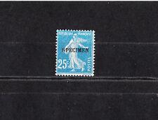 timbre France  Semeuse 25c  bleu  surchargé  spécimen   NUM: 140-CI 4  *
