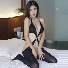 Sexy Lingerie Black Fetish Footed Bodysuit Open Crotch Jumpsuit Bra Tops Halter