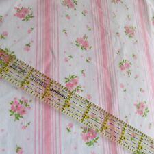 Vtg Shabby Pink stripe roses white chic Full Flat sheet Springmaid Wondercale