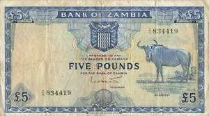 ZAMBIA 5 Pounds 1964, P-3 Bank of Zambia, Wildebeest Note, VF & Rare
