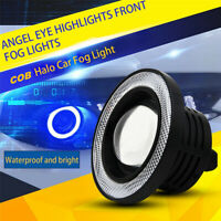 2* Blue Halo Ring Angel LED Projector Lamps For Driving DRL Lights Fog Lights