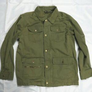 Eddie Bauer Size Green Chore Barn Coat Snap Up w Collar Cotton