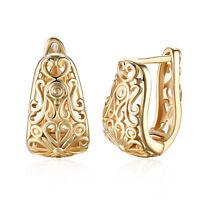 Women 18K Gold Plated Flower Shape Buckle Hoop Huggie Earrings Retro Jewelry