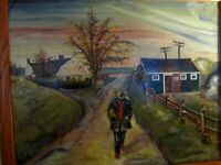 """1923 SIGNED AYB OIL ON BOARD PAINTING """"AT THE FARM"""" MAN WALKING DIRT ROAD SCENE"""
