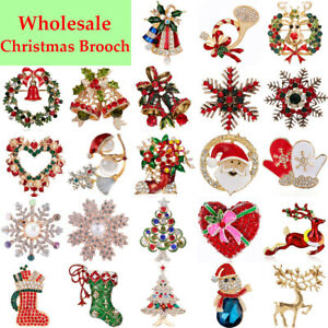 Wholesale Christmas Enamel Elk Santa Claus Brooch Pins Women Party Jewelry Xmas