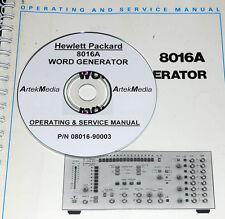HP 8016A WORD GENERATOR OPERATING & SERVICE MANUAL