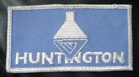 "HUNTINGTON EMBROIDERED SEW ON PATCH LOGO ADVERTISING UNIFORM 4 3/4"" x 2 1/2"""