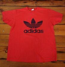 Vintage Adidas 50/50 Trefoil Run DMC Era Design Red Black T-Shirt USA Made L-XL