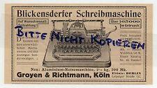 KÖLN, Werbung 1913, Groyen & Richtmann Blickensderfer Schreibmaschine Büro-Techn