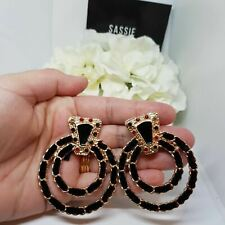 Black Gold leather jewel Earrings Large Hoops Statement trend  Baroque