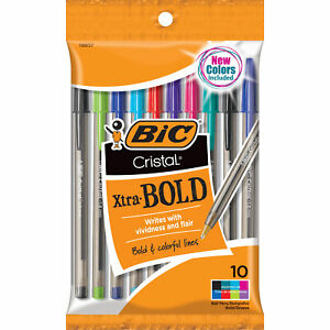 BIC Cristal Xtra Bold Ballpoint Pen, 1.6mm, Medium Point, Assorted Colors, 10-Co
