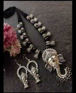 Indian Ethnic Traditional Oxidized Ganesh Pendant Necklace with Earrings