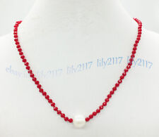3x4mm Faceted Red Crystal Beads & Natural 9-10mm White Pearl Necklace 16-28''