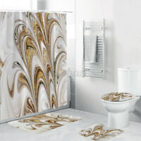 4pcs Golden marble Bathroom Shower Curtain Toilet Waterproof Fabric Cover   .-