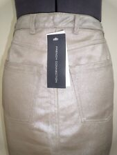 French Connection metallic silver on beige skirt Size 8