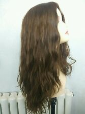 22in Jewish Wig Long Wavy Brown 8# Human Hair Wig Kosher Wig Sheitel