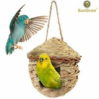 SunGrow Roosting Pocket Bird Hut: Hand-Woven Resting Shelter for Finch, Canary