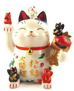 Feng Shui Maneki Neko Lucky Cat/Waving Hand Cat Coin Bank for Wealth