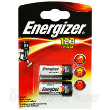 2 x Energizer Lithium CR123 batteries 3V 123A CR17345 EL123 Camera Pack of 2
