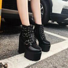 Womens Ankle Boot Super High Block Heels Platform Side Zip Nightclub Warm Shoes