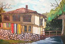 Vintage fauvist gouache painting landscape river house