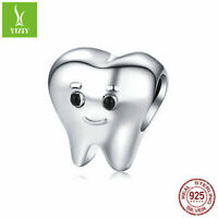 Soild 925 Sterling Silver Charms Bead Fit Women Fashion Pendant Lovely Tooth