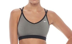 NWT Women's Nike Gray Strappy Low-Impact Running Sports Bra Size L MSRP $35