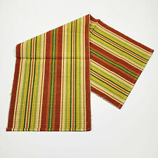 """Salsa Red Green Tan Striped Cotton 54"""" Ribbed Table Runner"""