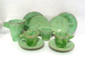 Vintage Akro Agate Jadeite Toy Doll Childs Tea Cups Dishes Concentric Ring
