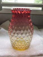 Vintage Czech Amberina Vase Inverted Thumbprint Bohemian Inverted Thumbprint
