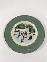 Enoch Wedgewood England 1975 AVON CHRISTMAS Plate Skaters On The Pond Collect