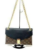 Louis Vuitton Pallas Chain Black Leather & Brown Mono Canvas Shoulder Bag